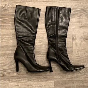 Browns Shoes Black Leather Knee High Boots.